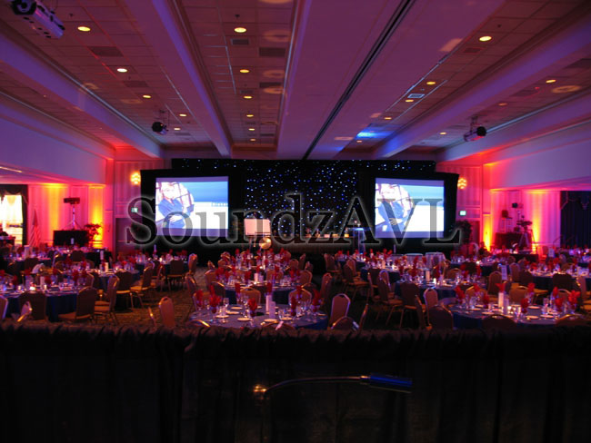 Corporate Awards Banquet, Fiber Optic Curtain, 2 - 15' Diag. Video Screens, Real Time onsite video, Followspots